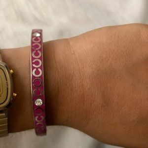 COACH Pink and Silver Bangle Bracelet